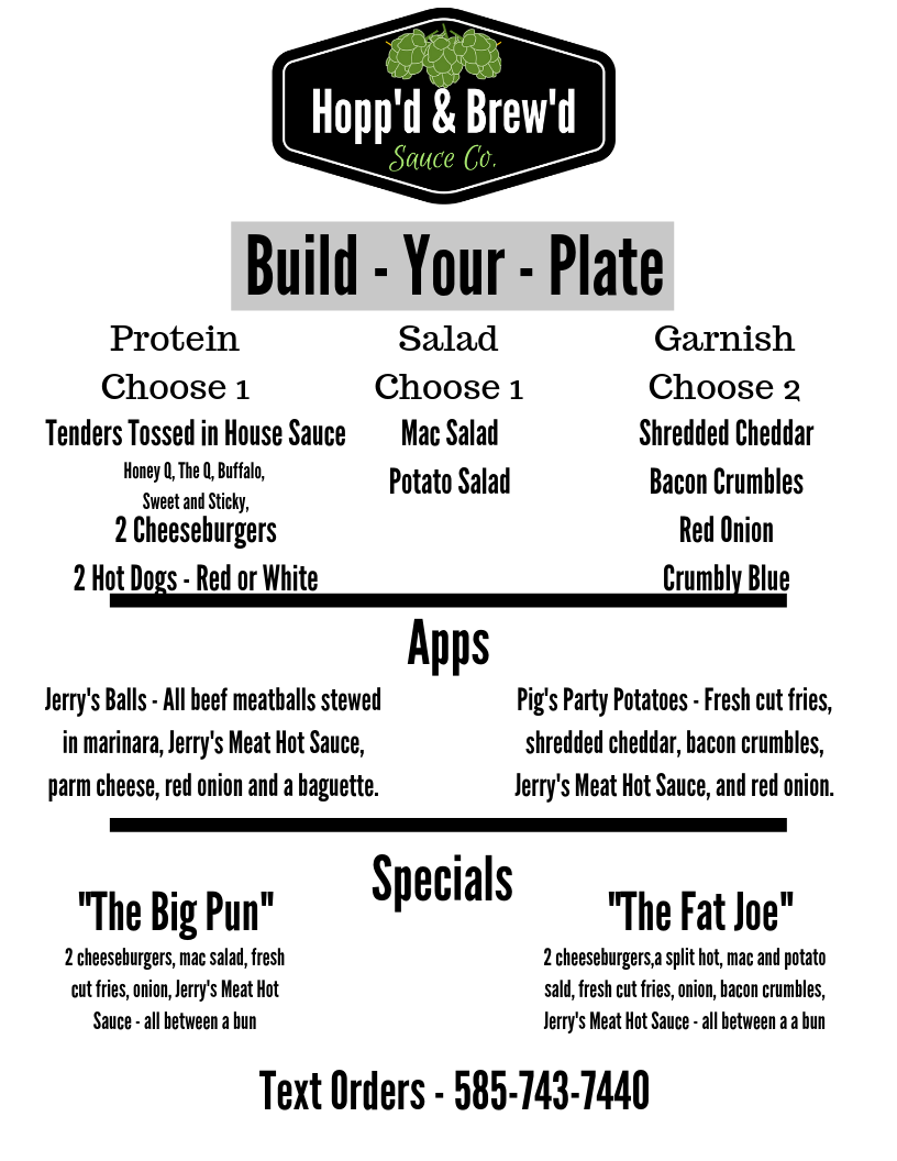 Hopp'd & Brew'd Food Menu - Current - Roc City Sauces