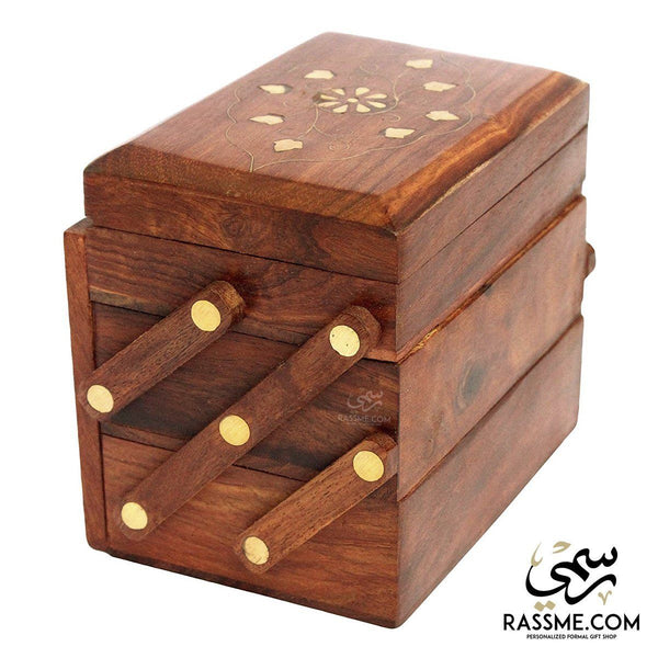 Indian Handcrafted Wooden with Brass Tower Jewelry Box - in Jordan