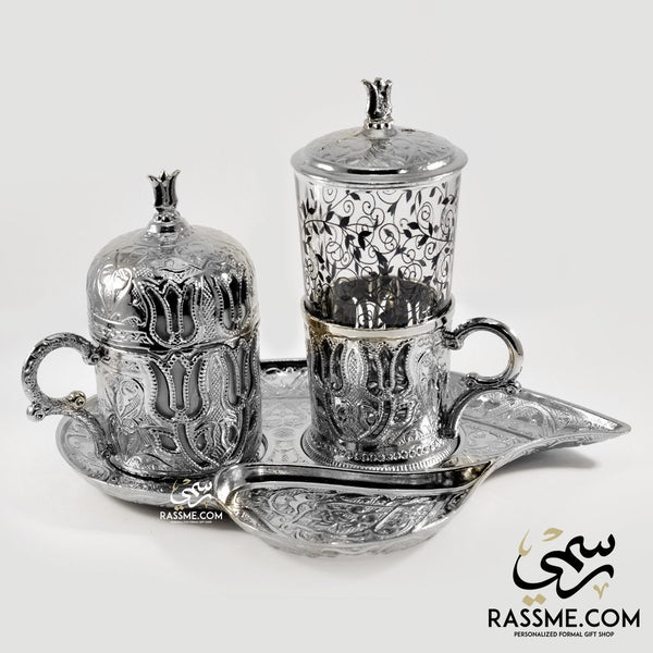 Silver Turkish Coffee Cup + Tea Cup + Tray Leaf  - Made In Turkey