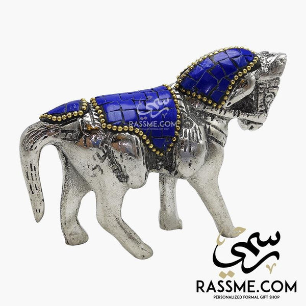 Turquoise Coral Lapis Gemstones Solid White Metal Handcrafted Arabian Horse - Rassme
