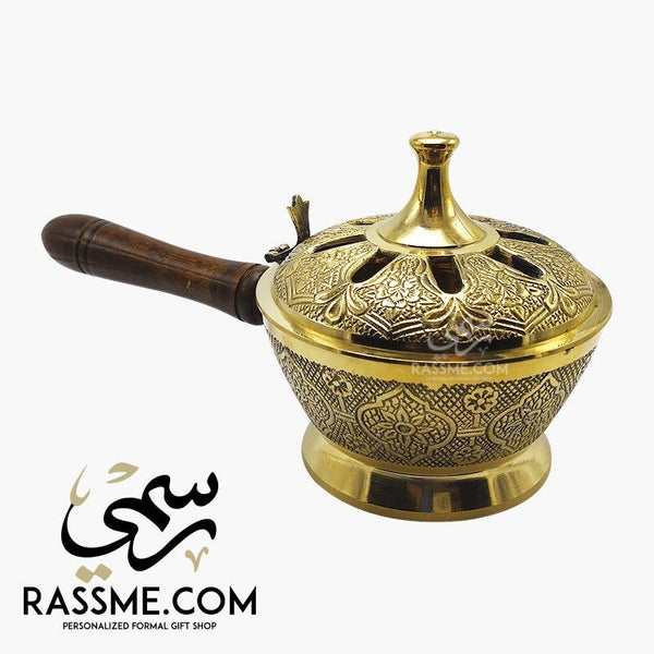 Solid Brass Indian Incense Burner Handcrafted Wooden Handle - Free Engraving - in Jordan