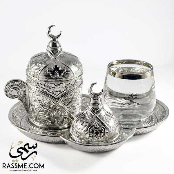 Turkish Coffee Cup + Water Glass + Tray - Made In Turkey - Rassme