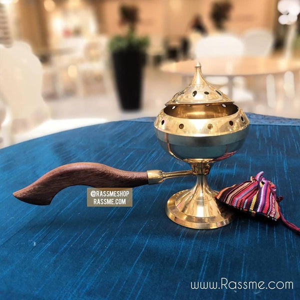 Solid Brass Incense Burner With Wooden Handle - Free Engraving - Rassme