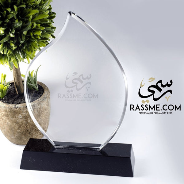 Plaque Flame Crystal - Free Hand Engraving - Rassme