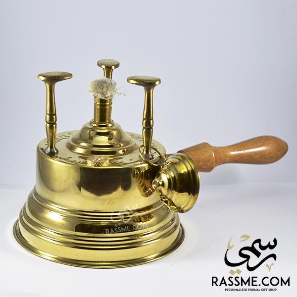 Solid Brass Spirit Lamp For Heating With Wooden Handel - Rassme