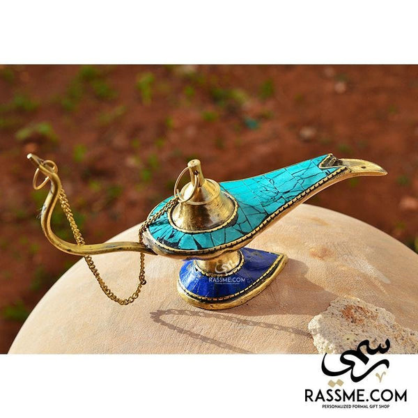 Solid Brass Aladdin Lamp Turquoise Lazord Stones - Free Engraving - in Jordan