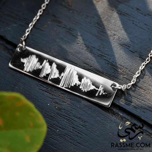 Custom Sound Wave Silver Necklace Hand Engraving