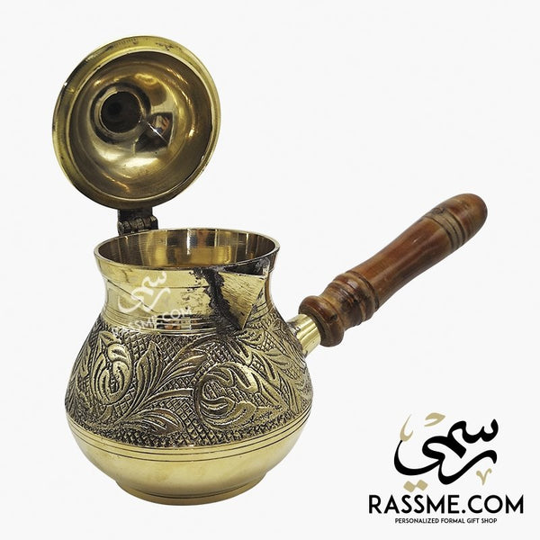 Personalized Handcrafted Solid Brass Curvy Coffee Pot - Rassme