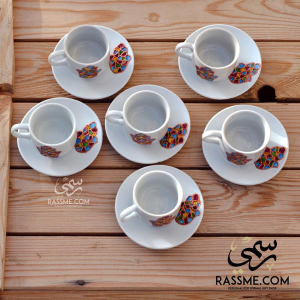 Rassme Turkish Coffee Hamsa Palm Colorful 6 Pcs Set Giveaways in Jordan