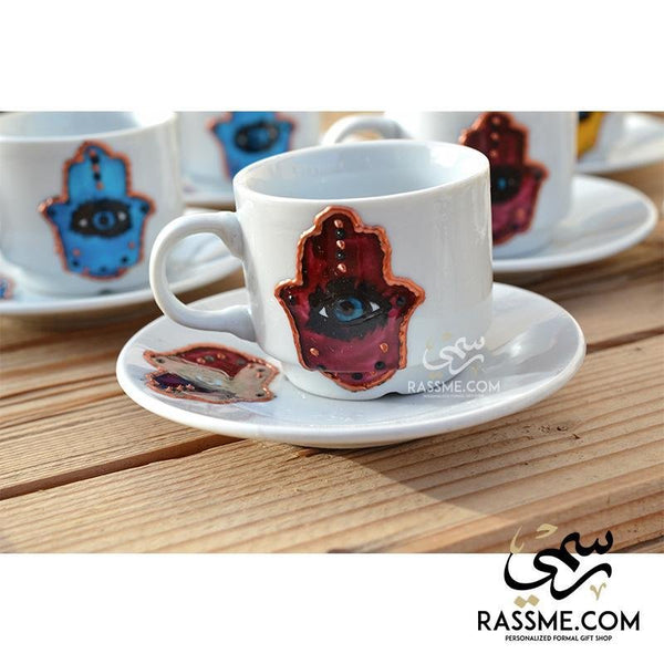 Turkish Coffee Hamsa Palm with Eye 6 Pcs Set - in Jordan