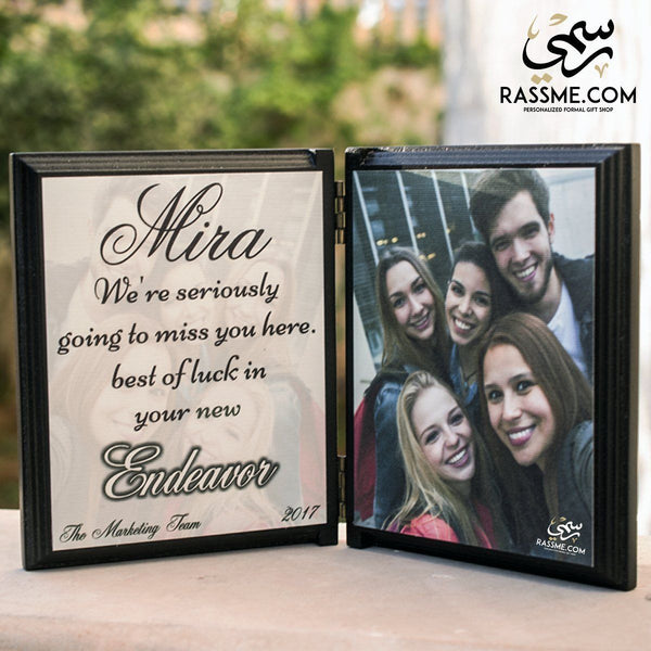 Wooden Book Two Frames (Image + Text) - Free Engraving