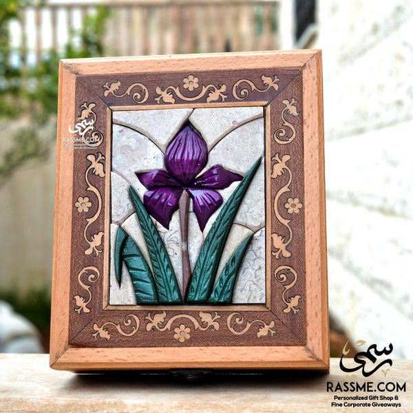 Handcrafted Wooden 3D Black Iris Mosaic Stones Box - in Jordan