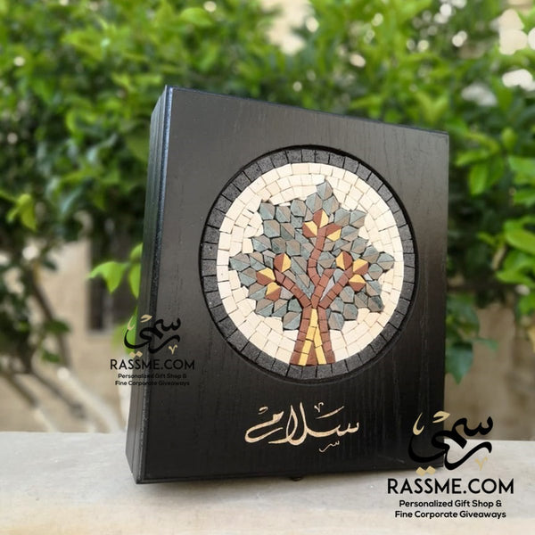 Personalized Wooden Tea Box Date Tree Mosaic - in Jordan