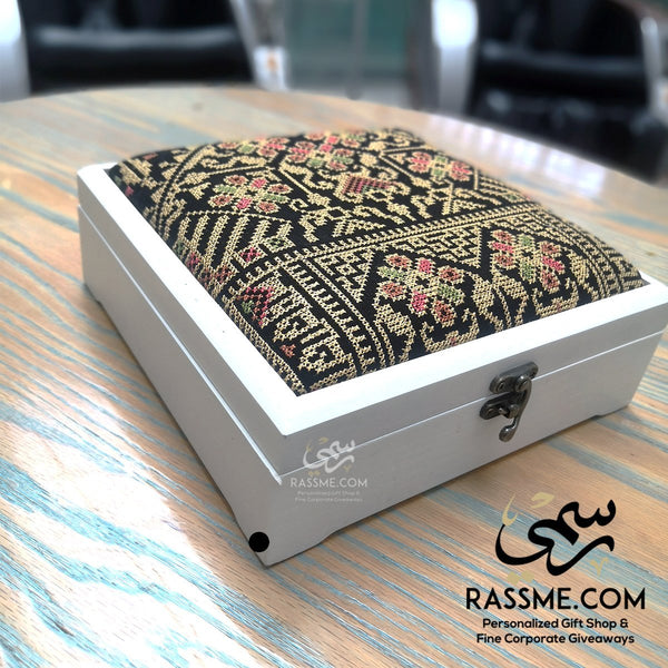 Personalized Wooden Tea Box Arabian Embroidery - Rassme