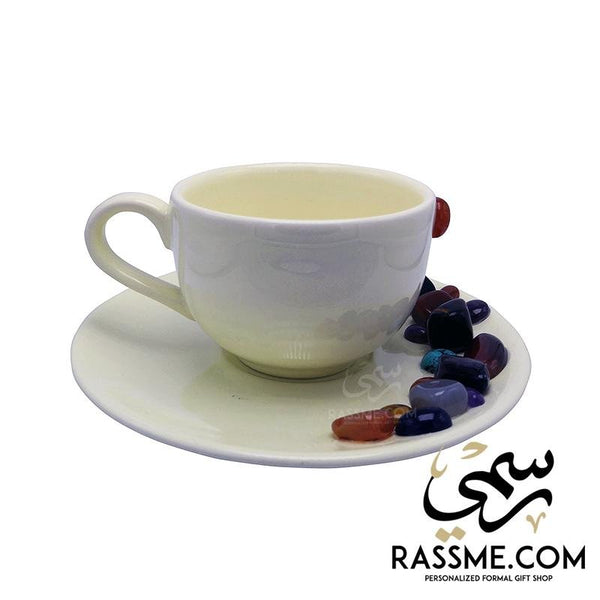 Porcelain Coffee Cups & Tea with Gemstones - Rassme