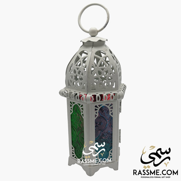 Candle White Arabian Glass Ramadan Lantern Desk - in Jordan