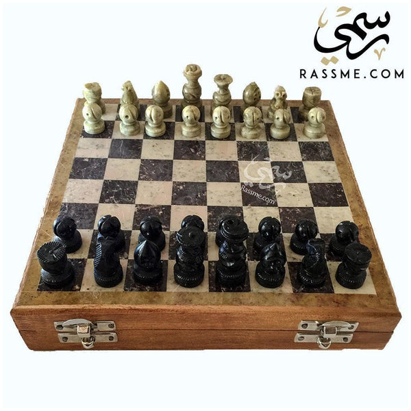 Marble Chess Pieces and Board Set