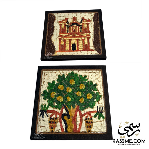 Wood and Stone Mosaic Petra / Tree Of Life Coaster Square - in Jordan