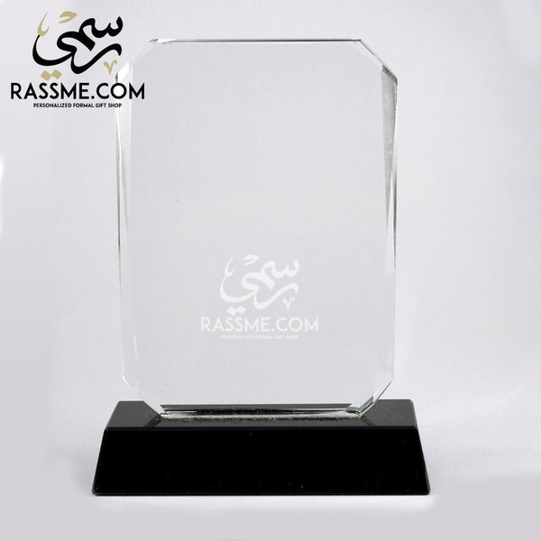 Plaque Rectangle Crystal - Free Hand Engraving - in Jordan