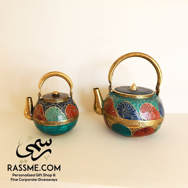 Nepalese Pure Copper Gemstone Lapis, Turquoise & Coral Teapot Round Set