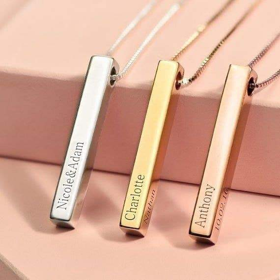 Gold Vermeil Personalized Genuine Silver 3D Vertical Bar Necklace 4 Sided - in Jordan