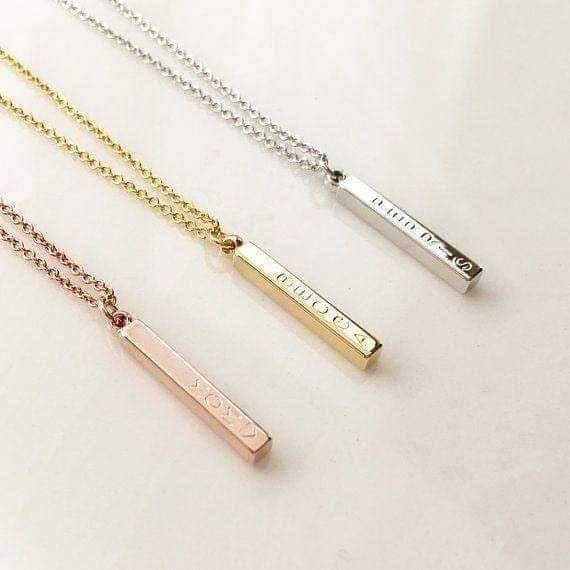 Personalized Genuine Silver 3D Vertical Bar Necklace 4 Sided - in Jordan