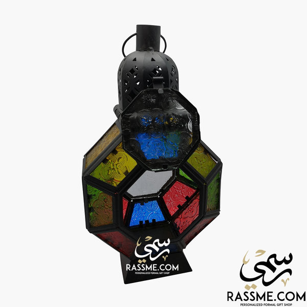 Octagon Large Arabian Ramadan Lantern Glass - Desk / Ceiling - Candle / Lamp - in Jordan