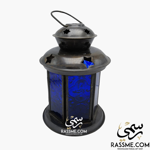 Small Blue Glass Lantern - Desk / Candle - in Jordan
