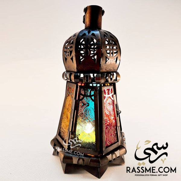 Candle Regular Arabian Glass Lantern Desk - in Jordan