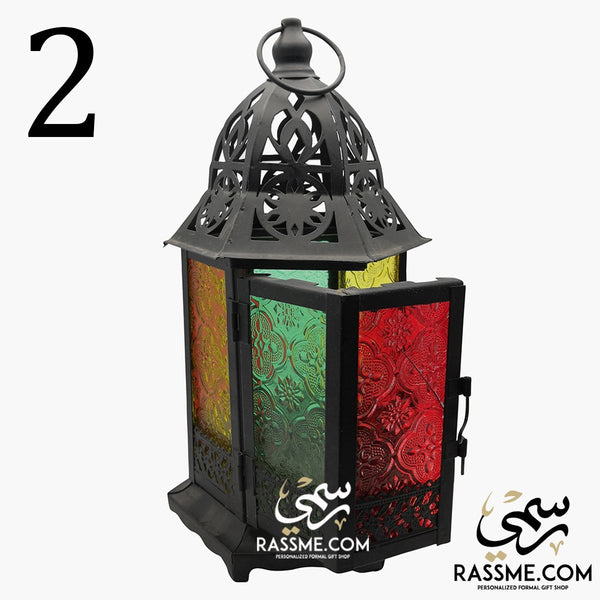LED Flameless Traditional Wide Door Arabian Glass Lantern Desk - in Jordan