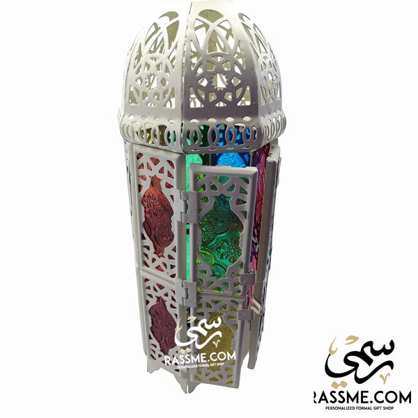 Flameless White Tower Arabian Glass Ramadan Lantern Desk - in Jordan