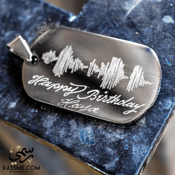 Custom Sound Wave Tag Hand Engraving