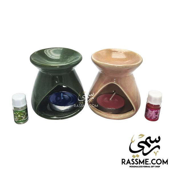 Candle Ceramic Oil Incense Warmer Set - ( Oil & Candle Included ) - Rassme