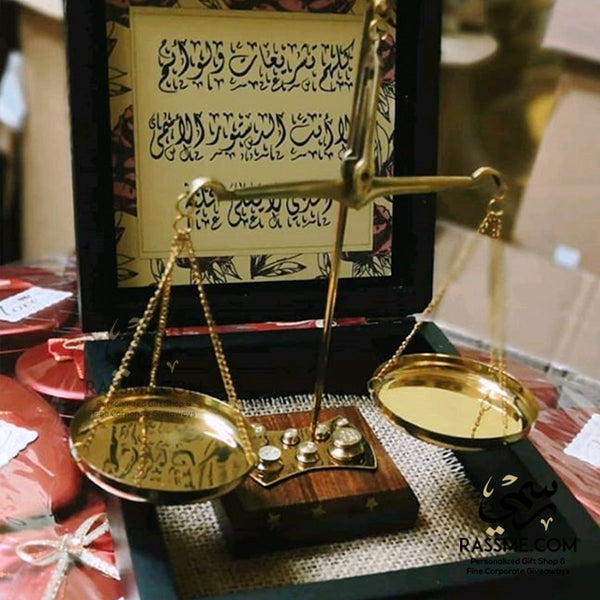 Wooden Base Balance Weighing weights Justice Scale - Free Engraving - in Jordan
