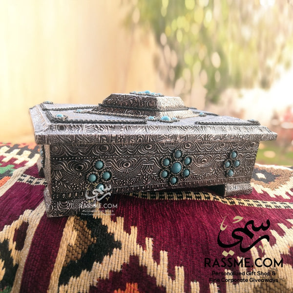 Personalized White Metal Shell on Wooden Box with Turquoises Stones - in Jordan
