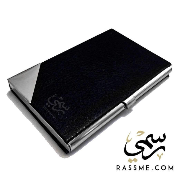 Business Card Holder Black - Free Hand Engraving - Rassme