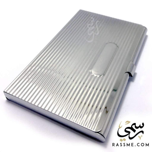 Business Card Holder Steel - Free Hand Engraving - Rassme