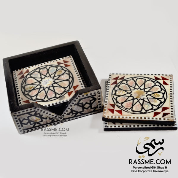 Wooden Coasters with Holder Handmade Mother of Pear Arabesque - in Jordan