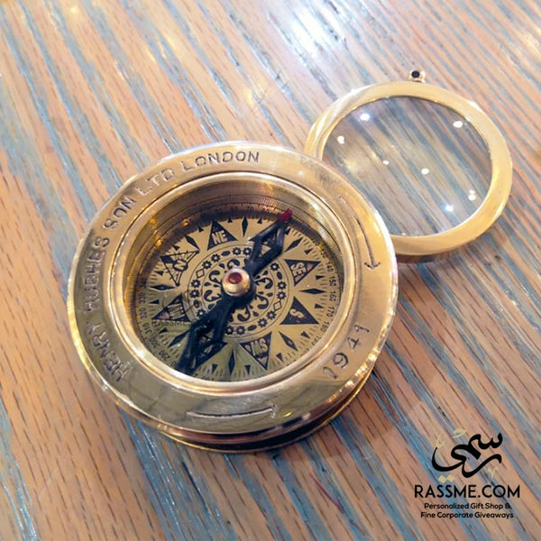 Nautical World Brass Compass with Magnifying Glass – Brass Compass - in Jordan