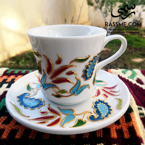 Porcelain Floral White Coffee / Tea cup - in Jordan