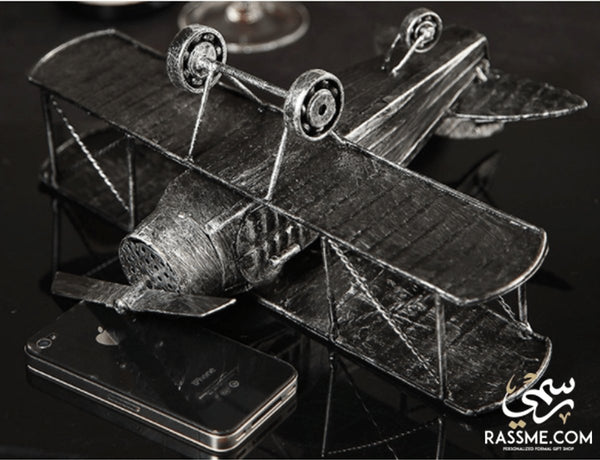 Handicraft Wrought Metal Military Airplane - Free Engraving - Rassme