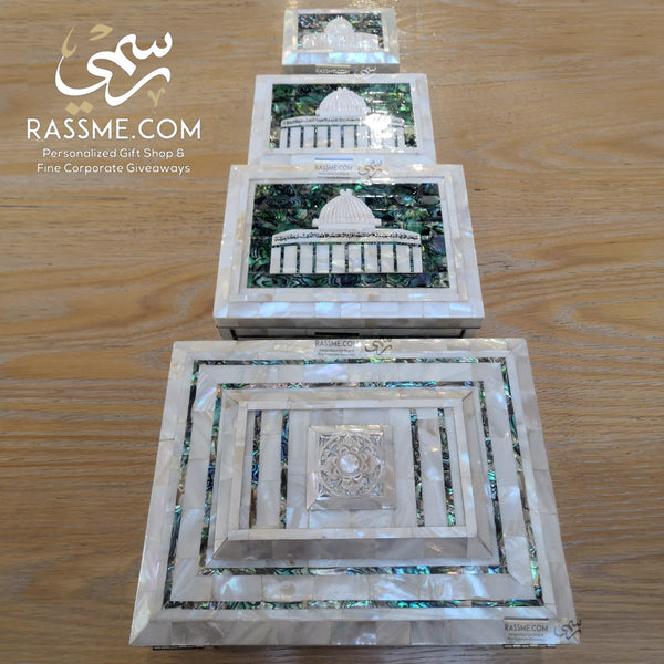 Hand Craved Genuine Mother Of Pearl Box & A Quran