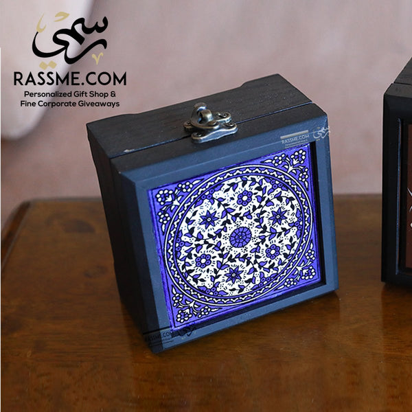 Personalized Wooden Box Ceramic Palestinian Pottery - in Jordan