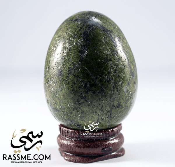 Egg Stone With Wooden Base - in Jordan