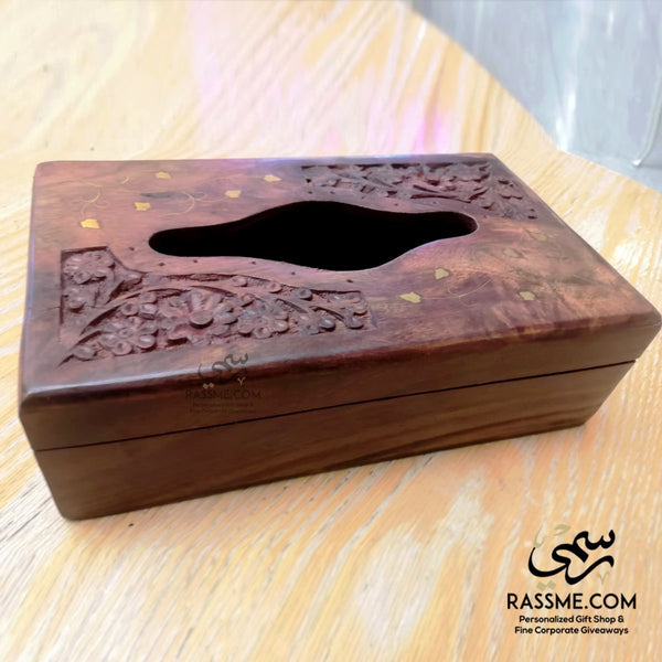Rosewood Wooden Indian Tissue Box with Brass - in Jordan
