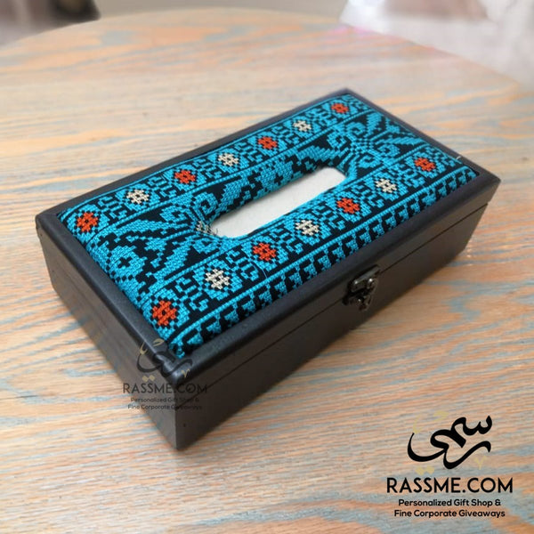 Palestinian embroidery tissue box cover - in Jordan