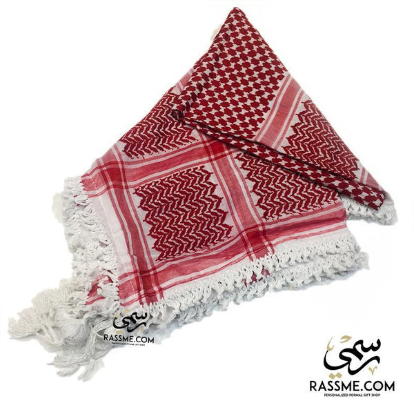 Jordanian Shemagh Keffiyeh Traditional Head Scarf Red And White - in Jordan