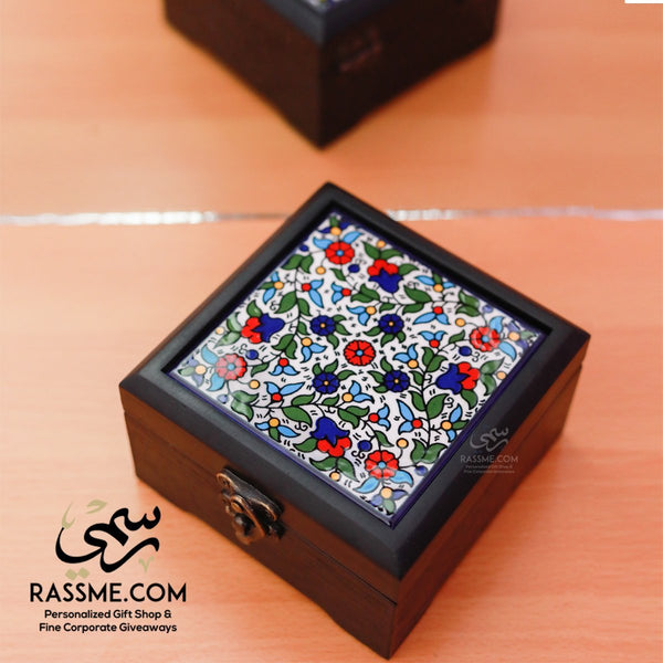 Personalized Hand Colored Ceramic Wooden Box - in Jordan