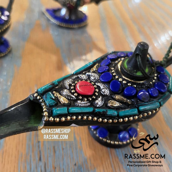 Aladdin Magical Lamp Brass & Genuine Gemstones - Free Engraving - in Jordan
