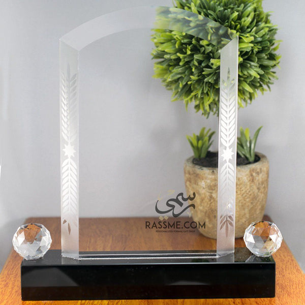 Plaque Gate Crystal - Free Hand Engraving - Rassme